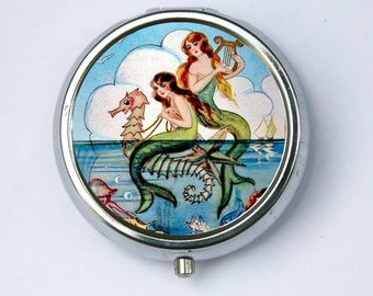 Mermaids PILL CASE pillbox pill box holder on seahorse  blue ocean water DIY
