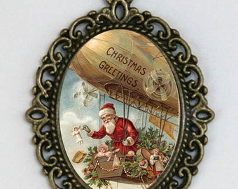 Santa  necklace in zeppelin Christmas pendant NECKLACE holiday  kitsch