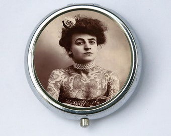 Tattooed Women Pill Case holder pill box pilLbox DIY victorian circus sideshow freak performer obscure
