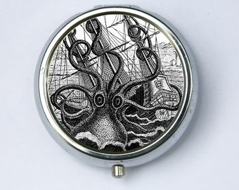 Octopus attacking Ship PILL CASE pill box holder pillbox  STEAMPUNK gothic nautical