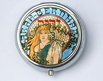Art Nouveau PILL CASE pillbox BOX holder Girl flowing hair goddess Edwardian Era