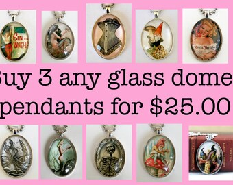 Buy 3 Deal You pick 3 necklaces LARGE 40X30mm Glass domed pendant