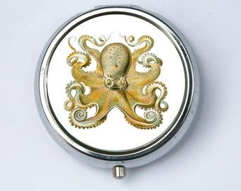 Octopus pillbox PILL CASE pill box holder pillbox  STEAMPUNK gothic nautical