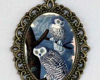 Snow Owl necklace pendant hipster night owl tree