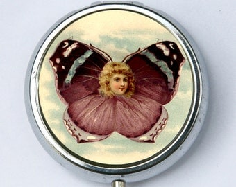 Butterfly Women Face PILL case pillbox pill box holder diy victorian