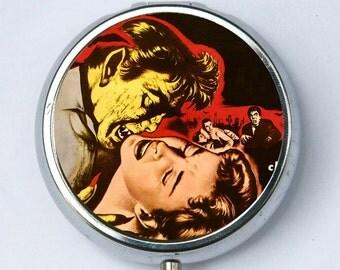Vampire biting Girl pillbox PILL CASE BOX Horror b-movie creepy punk psychobilly gothic
