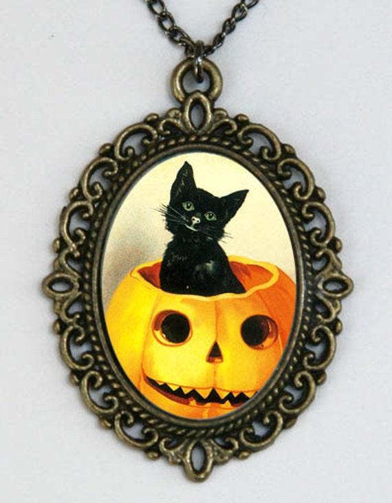 Halloween necklace Black Cat in a Jack o Lantern pumpkin Kitsch DIY animal cute