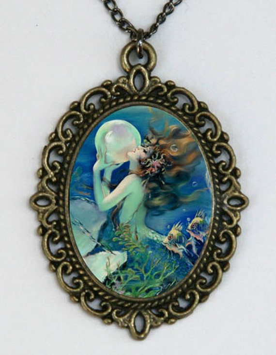 Mermaid necklace holding a Pearl art nouveau deco victorian DIY