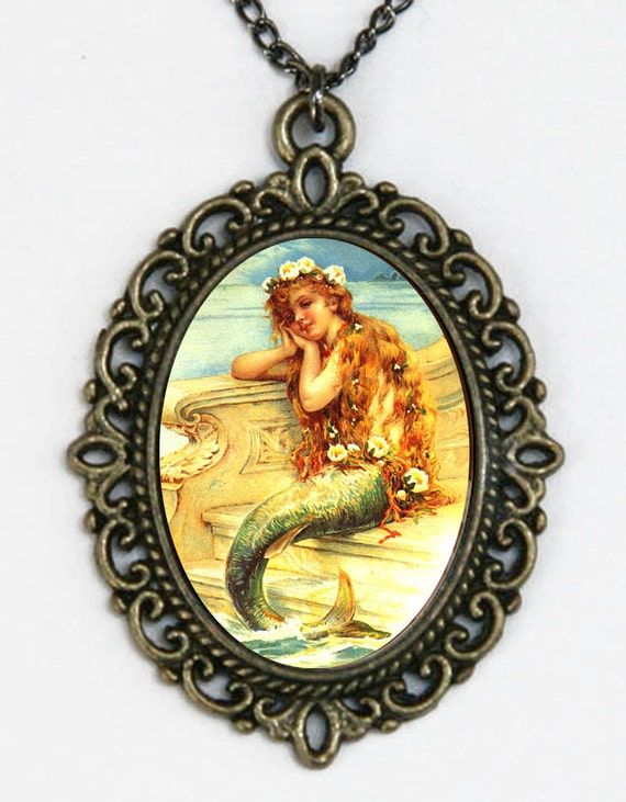 Mermaid necklace With flowers in hair art nouveau deco victorian DIY