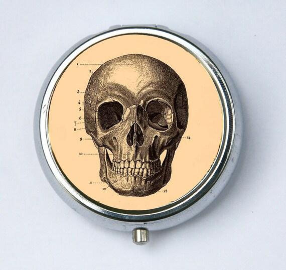Skull pillbox Pill case box holder medical  steampunk gothic psychobilly anatomy DIY