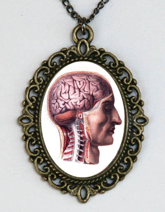 Human Face Brains spine vintage Victorian Medical Drawing necklace anatomy psychobilly gothic punk steampunk
