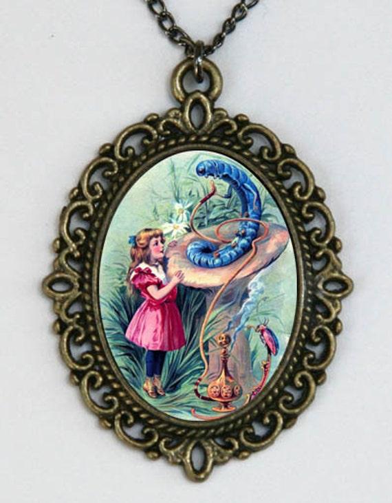Alice in Wonderland NECKLACE pendant caterpillar victorian fairy tale storybook