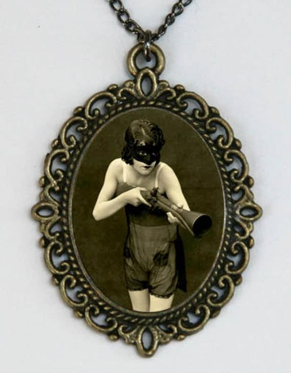 Masked Flapper with a gun erotic mysterious necklace retro art deco punk rockabilly DIY