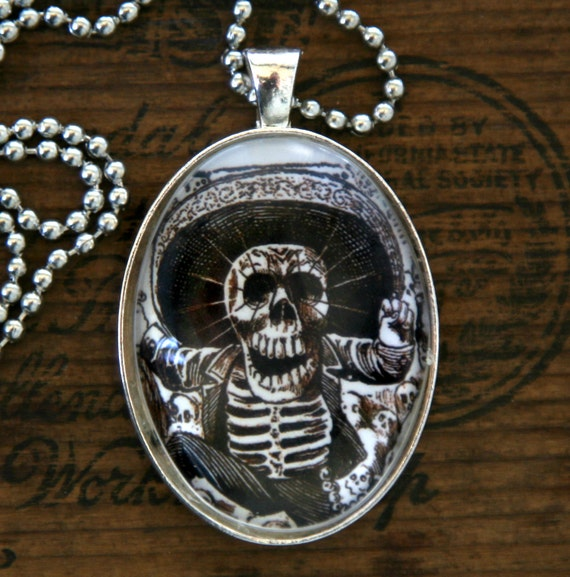 Calavera day of the dead necklace skull skeleton LARGE 40X30mm glass domed pendant