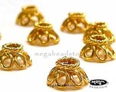 12 pcs 6.5mm Bali Vermeil Gold Bead Caps Flower Wired BeadCap C07V