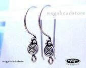 Patina Bali Sterling Silver Earwires Swirl Earring Hooks F193 -4 pcs