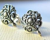 Patina Filigree Flower Earring Post Bali 925 Sterling Silver w/ Backing F338- 1 pr