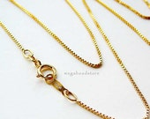 0.85mm Dainty 20 inch 14K Gold Filled Box Chain Necklace FC21