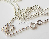 40 in. 2mm Bead Chain 925 Sterling Silver Ball Chain Necklace FC22