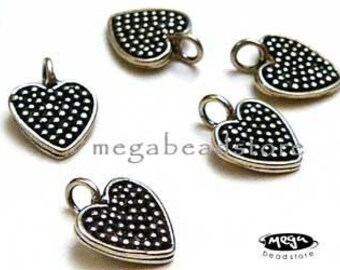 5 pcs Antique Heart Charms Bali 925 Sterling Silver Dangles F09
