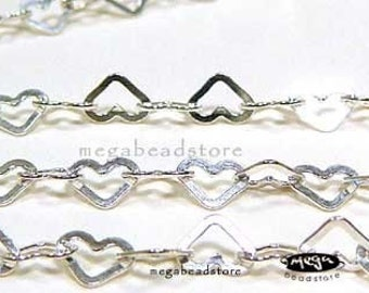 24 inch 5mm Heart Chain 925 Sterling Silver Loose Chain Flatten CH1