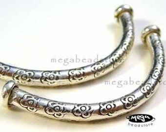 2 pcs 925 Sterling Silver Curved Elbow Tube 2 Karen Hill Tribe Thai Stamped Flowers KB7