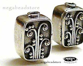 2 pcs 12mm Bali Sterling Silver Bead Handmade Rectangle Oxidized B218