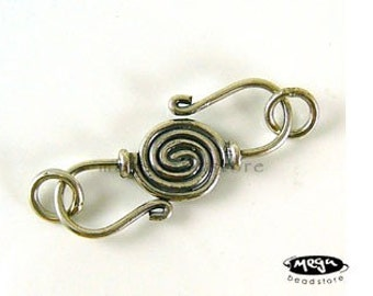 2 Sets Swirl Bali Clasp Sterling Silver Handmade S-Clasps T68