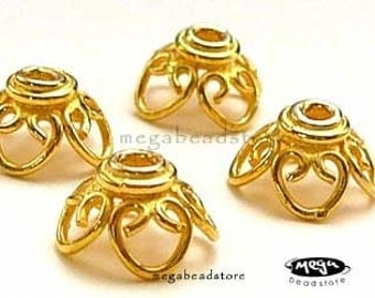 6 pcs 9mm Vermeil Gold Bead Caps Filligree Wire 4 Petals Flower C82V