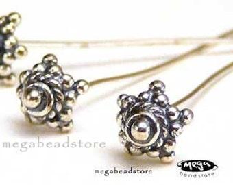 2 pcs 20 Gauge Head Pins Large Bali Sterling Silver Findings F212