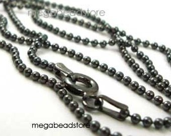 """24"""" Dark Oxidized Sterling Silver Bead Chain 1.5mm Ball Necklace FC10Z"""