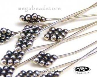 10 pcs 24 Gauge Patina Head Pins Bali Sterling Silver F209
