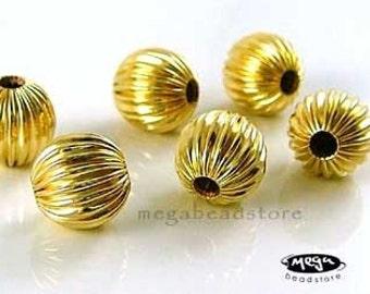 6 pcs 7mm 14K Gold Filled Corrugated Round Beads B39CGF