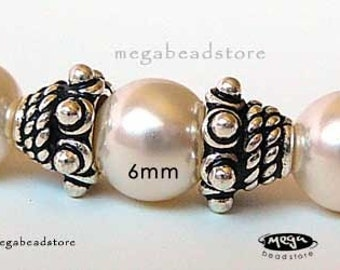 6mm Antique Bali Sterling Silver Bead Caps C84 - 12 pcs