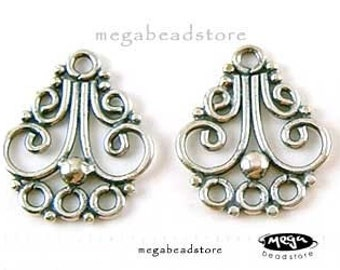 2 pcs Patina Chandelier Earring Connectors Bali 925 Sterling Silver  Findings F66