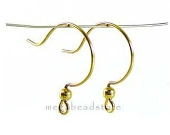 2 Pairs 14k gold Filled Round Hook Ear Wire F141GF