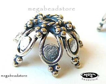 2 pcs 16mm Large Bead Cap Bali Silver Beads 925 Sterling Silver BeadCaps C85
