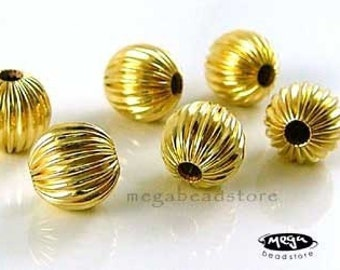 4 pcs 7mm 14K Gold Filled Corrugated Beads B39CGF