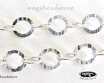 3 ft Diamond Cut 925 Sterling Silver Chain Flat Ring 3.5mm- Faceted Textured
