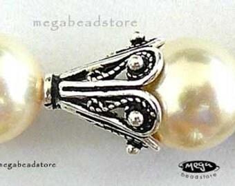 8 pcs 10mm Filigree Cone Bead Caps Bali 925 Sterling Silver C36