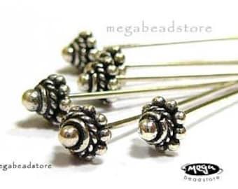4 pcs 5mm Head pins 22 gauge Bali 925 Sterling Silver 925 HeadPins F242