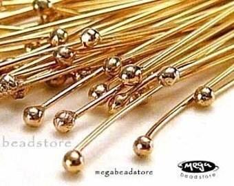 """20 pcs 26 Gauge 14K Gold Filled Ball End 1.5"""" Head Pins F08GF"""