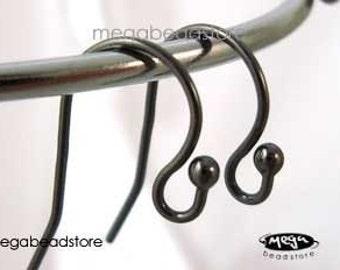 10 pcs Dark Oxidized 925 Sterling Silver Ball End Ear Wires Earring Hooks F224Z