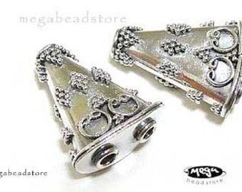 2 pcs 2-Hole Reducer Beads Bali 925 Sterling Silver Handmade Beads B259