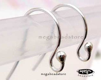 10 pcs 925 Sterling Silver Earwires Single Dot Ear Wire Earring Hooks F224