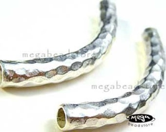 Large hammer tube 925 Sterling Silver Elbow Tube Hill Tribe Thai Silver KB6- 1 pc