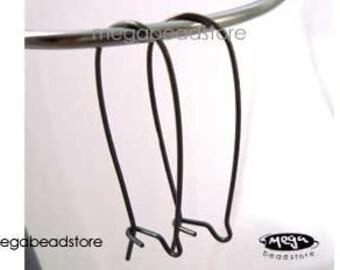5 Pairs 35mm Long Kidney Earwires Dark Oxidized Sterling Silver Ear Wire F195Z