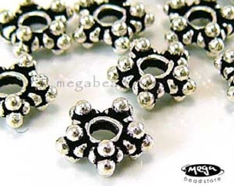 8mm Star Spacers Bali Sterling Silver Beads S31 -10 pcs