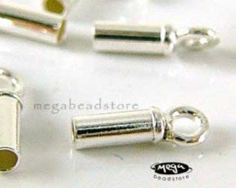 10 pcs Sterling Silver 925 End Cap for 1.5mm Leather Cord Tip Beads F142
