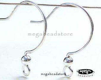 10 pcs Round Ear Wires 925 Sterling Silver French Earring Hooks F141